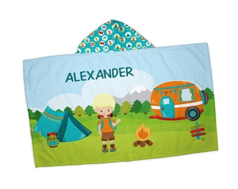 """Personalized Hooded Towel for Kids - Camping Boy Girl Fire Camper Tent Backpack, 24"""" x 42"""" Hooded Beach Towel"""