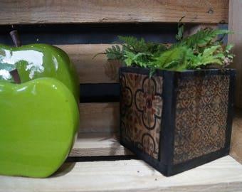flower pot black cement tiles