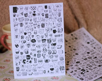 Print Cups Collection inks teacups cups mugs coffee tea illustration poster quirky aesthetic