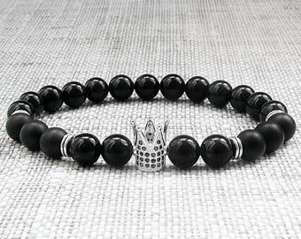 Mens stack bracelets mens bead bracelets Men bracelets Crown bracelets King bracelet Mens jewellery gifts for him gifts for dad bracelet