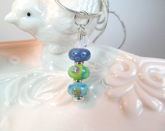 Necklace green purple blue stacked glass art lampwork beads with crystals