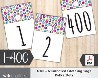 Dot Dot Smile Clothing Number Tags, 1-400, Pop-Up Boutique, Fashion Consultant, Polka Dots Design, Direct Sales, INSTANT DOWNLOAD