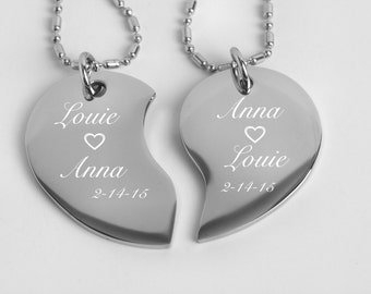 Personalized Broken Heart, Couples Jewelry, Silver Split Broken Tear Drop Heart Necklace Engraved Free, His And Hers Necklace, Split Heart