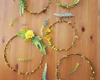 Floral wall hang, flower circlet set of 5, Aisle decor, Yellow flower hoop wall hang, wedding canopy backdrop, woodland decor, Boho wedding