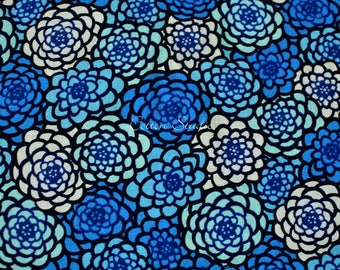 Japanese Fabric Chrysanthemum Blue by the Half Yard Japanese Modern Kimono Print Floral