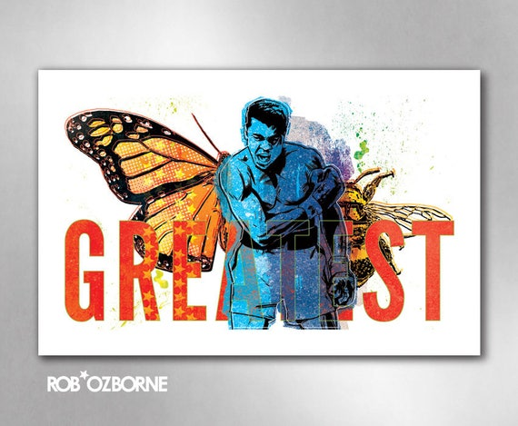 GREATEST Muhammad Ali Butterfly Bee 11x17 Art Prints by Rob Ozborne