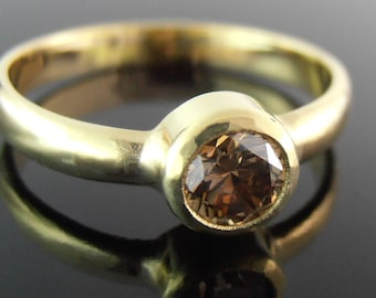 Champagne Diamond and 18k Gold Ring, Champagne Diamond Engagment Ring, 18k Gold Engagement Ring, 18k Gold Ring