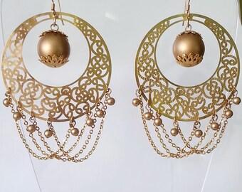 Vintage gold large earrings Boho earrings Boho Jewelry Wife gift Gold tracery earrings Large tracery chain earrings Dangle gold earrings