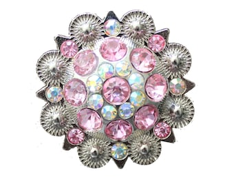Crystal Drawer Knob with Pink and light Pink Crystals (MK160)