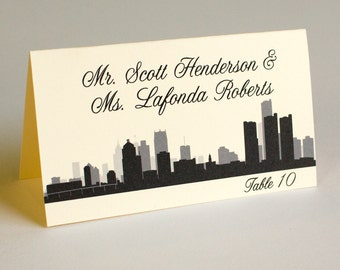 Detroit Wedding Place Card Skyline Handmade Custom Escort Card Seating Name Placecard Bridal Other Cities Available