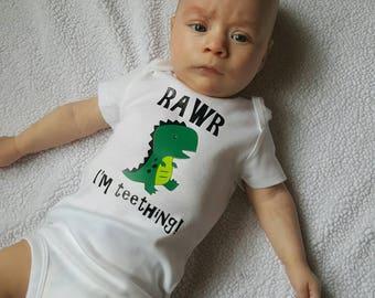 RAWR I'm Teething! Baby dinosaur bodysuit .