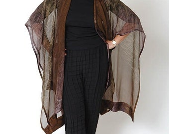 """Women's Fashion Dark Brown """"Geode"""" Hand Painted Silk Ruana, Designer Original, Perfect Travel Accessory, Made in USA, Gift with Purchase"""