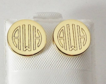 Custom Engraved Monogram Earrings Personalized Petite Gold Plated Round Disc Post Earrings - Hand Engraved