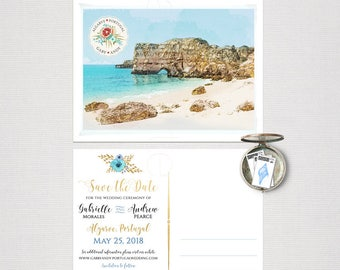 Portugal Algarve Destination wedding Europe Save the date Postcard with illustration sketch drawing Coast Beach watercolor - Deposit Payment