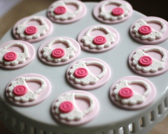 Our EXCLUSIVE Design Baby Shower Girl Bib Fondant Toppers - Perfect for Cupcakes, Brownies, Cookies and Other Edibles