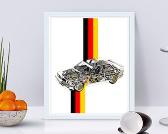 BMW E30 M3 Decor, BMW E30, Printable Art, BMW Wall Art, E30 bmw, E30 M3, German Flag, Automotive Art, Garage Decor, 8x10, 14x11, 16x20""