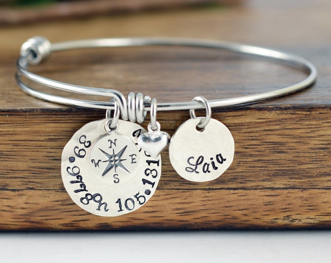 Sterling Silver Coordinate Bracelet, Graduation Gift, Coordinate Bracelet Women, Graduation Gift for Her, Best Friend Long Distance