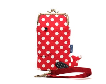 Rosy red Whale Smartphone Kosmetikbeutel sleeve