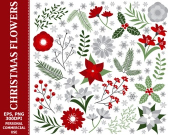 Digital Christmas Flowers Clipart - Leaves, Flower, Berry, Poinsettia, Flowers Clipart