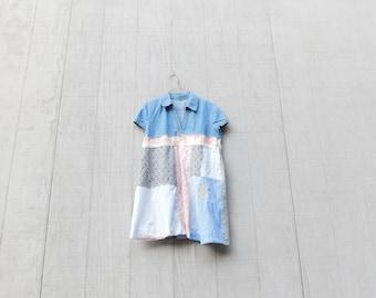 Recycled Clothing, Denim Tunic, Spring Tunic, Blouse, White, Up-cycled Clothing, Reclaimed, Upcycled Dress, Romantic, Boho, CreoleSha