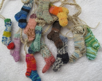 Custom Funky knitted sock garland for you / Christmas mini sock garland / Christmas Stocking bunting / sock garland