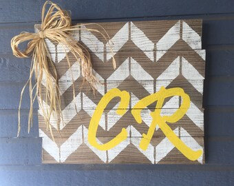 Personalized chevron initial sign