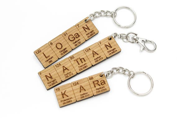 Custom name periodic table chemistry keychain cool science or like this item urtaz Choice Image