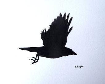 Crow original charcoal sketch, crow art, charcoal drawing, pencil drawing, bird art, bird drawing, crow picture, wildlife art, gothic art