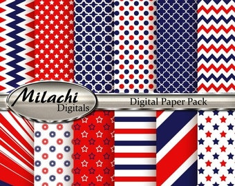 60% OFF SALE Fourth of July Digital Paper Pack - Commercial Use - Instant Download - M4