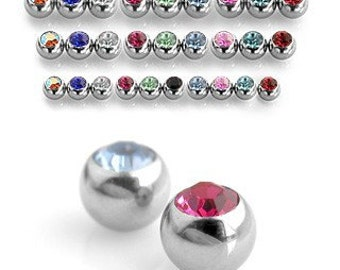 Crystal Gem Balls for Belly Button Rings- set of 5 balls