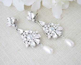 Rhinestone statement chandelier-Long vintage style earrings-Pearl teardrop-Crystal bridal earrings-Swarovski crystal and pearl drop earring