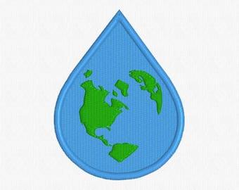 Teardrop -Shaped Earth - Earth - World -  Machine Embroidery Design