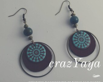 Leather and enamel earrings
