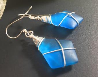 Sea Glass Earrings, Blue Sea glass Earrings, Sea Glass Jewelry, Blue Dangle Earrings, Silver Wire Wrapped Earrings Beach Jewelry, Diamond