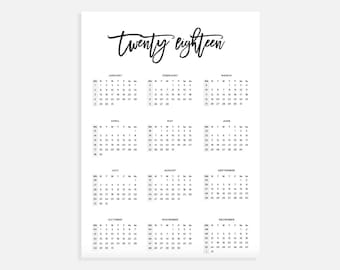 2018 Calendar A3, Calendar with week numbers, 2018 Year Calendar, A3 Digital Download Calendar, A3 Calendar, Printable Calendar 2018