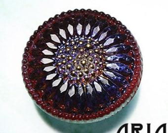 CZECH GLASS BUTTON: 27mm Handpainted Sunflower Czech Button, Pendant, Cabochon (1)