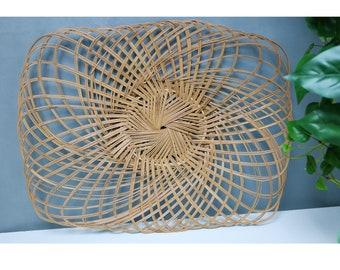 70's boho large bamboo wicker wall basket decor
