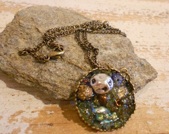 Ocean Treasure Necklace, Antique Brass Chain with organic mosaic pendant glass ,metal ,natural stones and shells