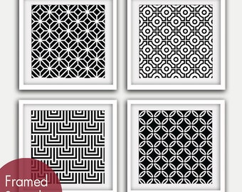 Mod Scandinavian Prints Collection (Series B4) Set of 4 - Square Art Poster Prints (Featured in Black and White)