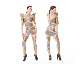 Futuristic Robot Catsuit, Silver Gold Jumpsuit, Holographic Bodysuit, Aerial Silks, Burning Man Outfit, Stage Wear, Dancewear, LENA QUIST