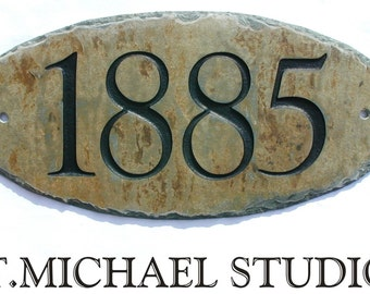 """CARVED SLATE Address Plaque /Sign / Stone / Marker / House / Number  / Condo / 5.5"""" x 12"""" #E-1s"""