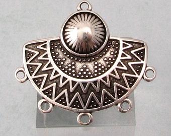 Boho Ethnic Pendant, 5 Loops, Antique Silver, AS433