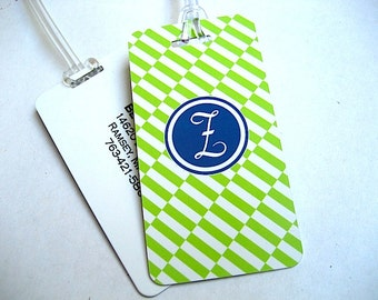 Luggage Tag Pair - Lime Green Custom Monogram Luggage Tag - Travel Accessories - Personalized Luggage Tag - Lime Green and Navy Tag