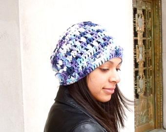 Crochet Cotton Slouchy Hat, Women, Teen, Multicolor, Tam, Spring Hat, Summer Hat,