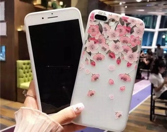 Falling flowers slim silicon case for iPhone 6s, 7, 7+, 8+