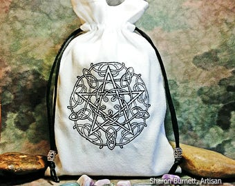 Celtic Knotwork Pentagram Embroidered White Faux Suede Drawstring Tarot Pouch Tarot Bag Rune Bag Crystal Bag Jewelry Pouch