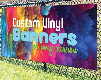 Custom Vinyl Banner for Happy Birthday / congratulations / welcome / Baby Shower & more Vinyl Banner - Personalized - Custom