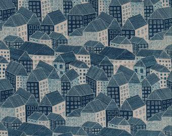 Andover Fabrics Sarah Golden Around Town Abodes in Sepia - Half Yard