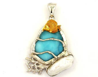 One of a Kind Larimar Pendant with Gold Fish