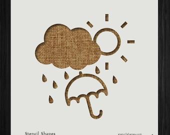 Weather Sun Storm Raining Precipitation Style 5952 DIY Plastic Stencil Acrylic Mylar Reusable